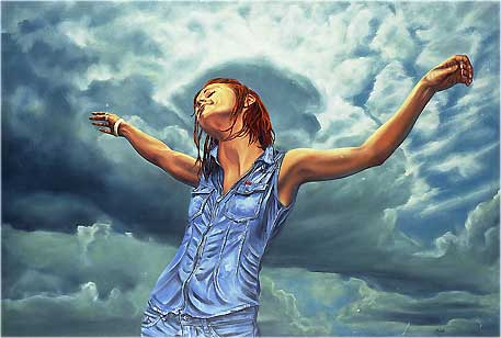 A wonderful painting by M.Rubelli (the summer of 1997 (love)) - a woman standing under a pale blue sky with her arms raised