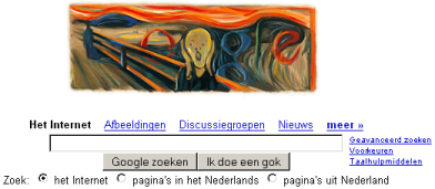 Picture of 'the scream' by Munch, heading the global Google searchpage