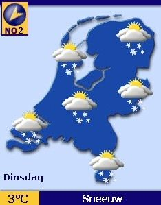 Map of the Netherlands with weathersymbols on it